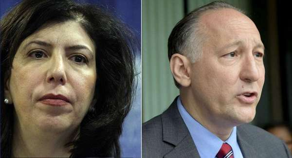 Madeline Singas, left, and Michael Scotto are vying
