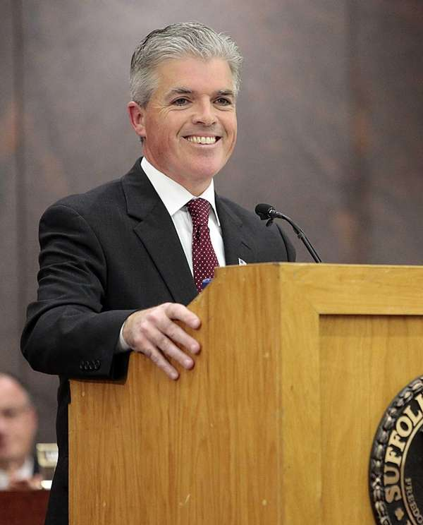 Suffolk County Executive Steve Bellone speaks on Thursday,