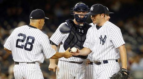 Adam Warren of the New York Yankees hands