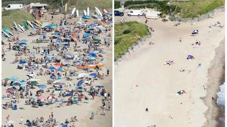 Ditch Plains Beach in Montauk looked very different