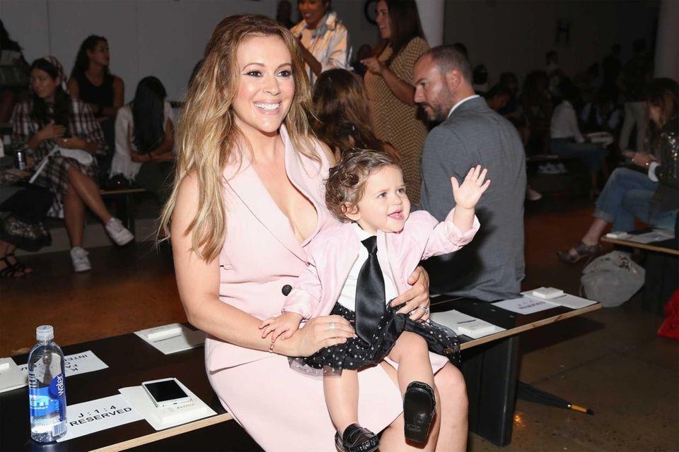 Actress Alyssa Milano and daughter Elizabella Milano attend