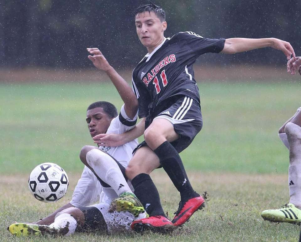 Brentwood's Marcos Buruca and Patchogue Medford's Steven Astudillo