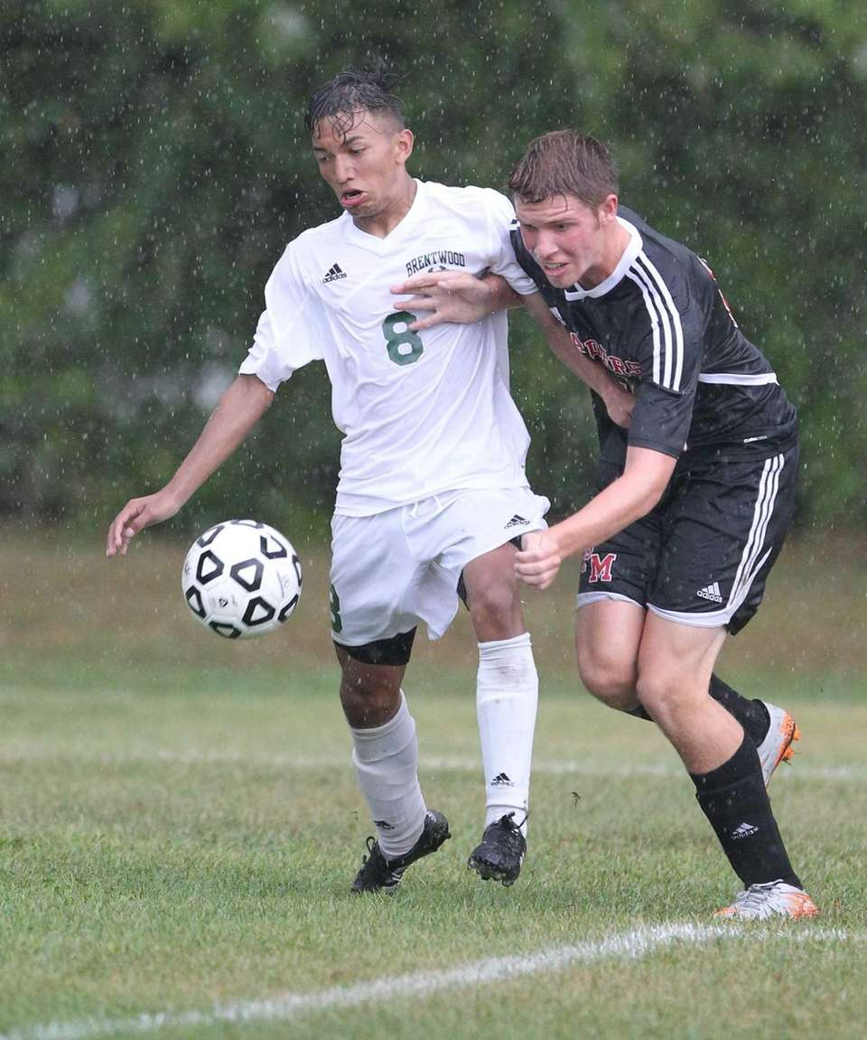 Brentwood's Victor Bercian and Patchogue Medford's Jared Remian