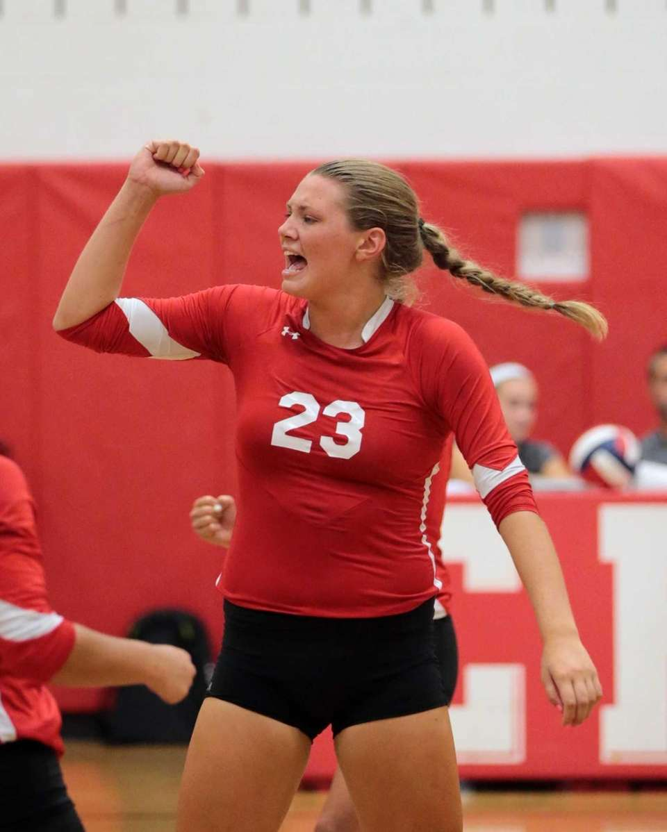 Connetquot's Katie Von Kampen celebrates one of her