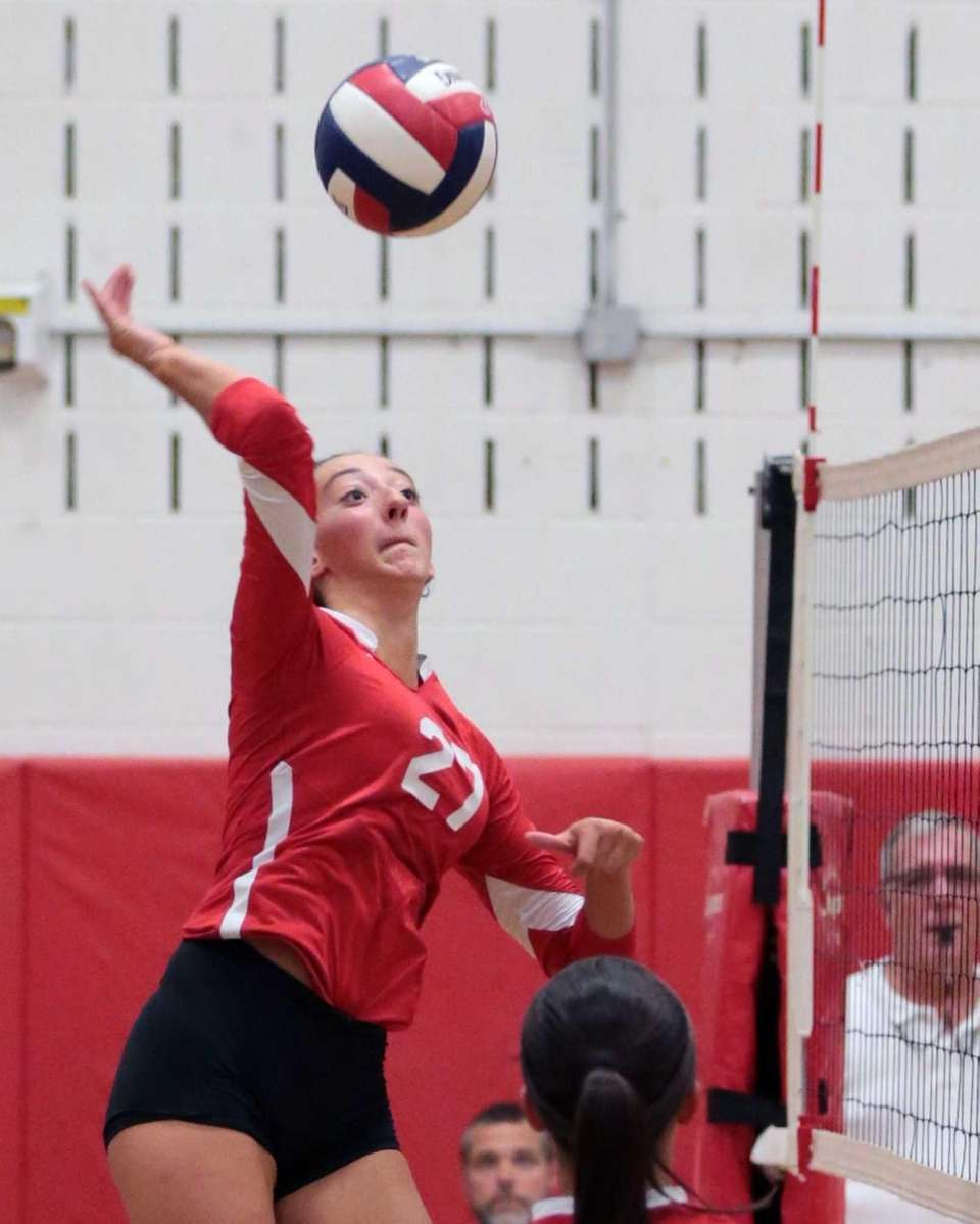 Connetquot outside hitter Cassandra Patsos records one of