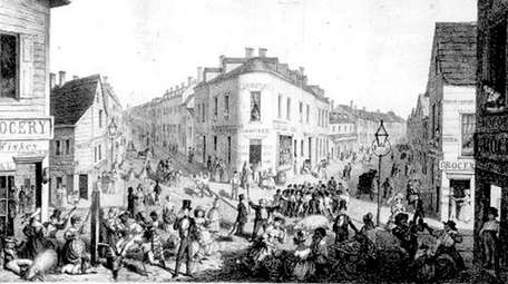 Five Points in 1827 as depicted in Valentine's