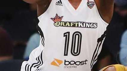 The DraftKings logo is seen on the jersey