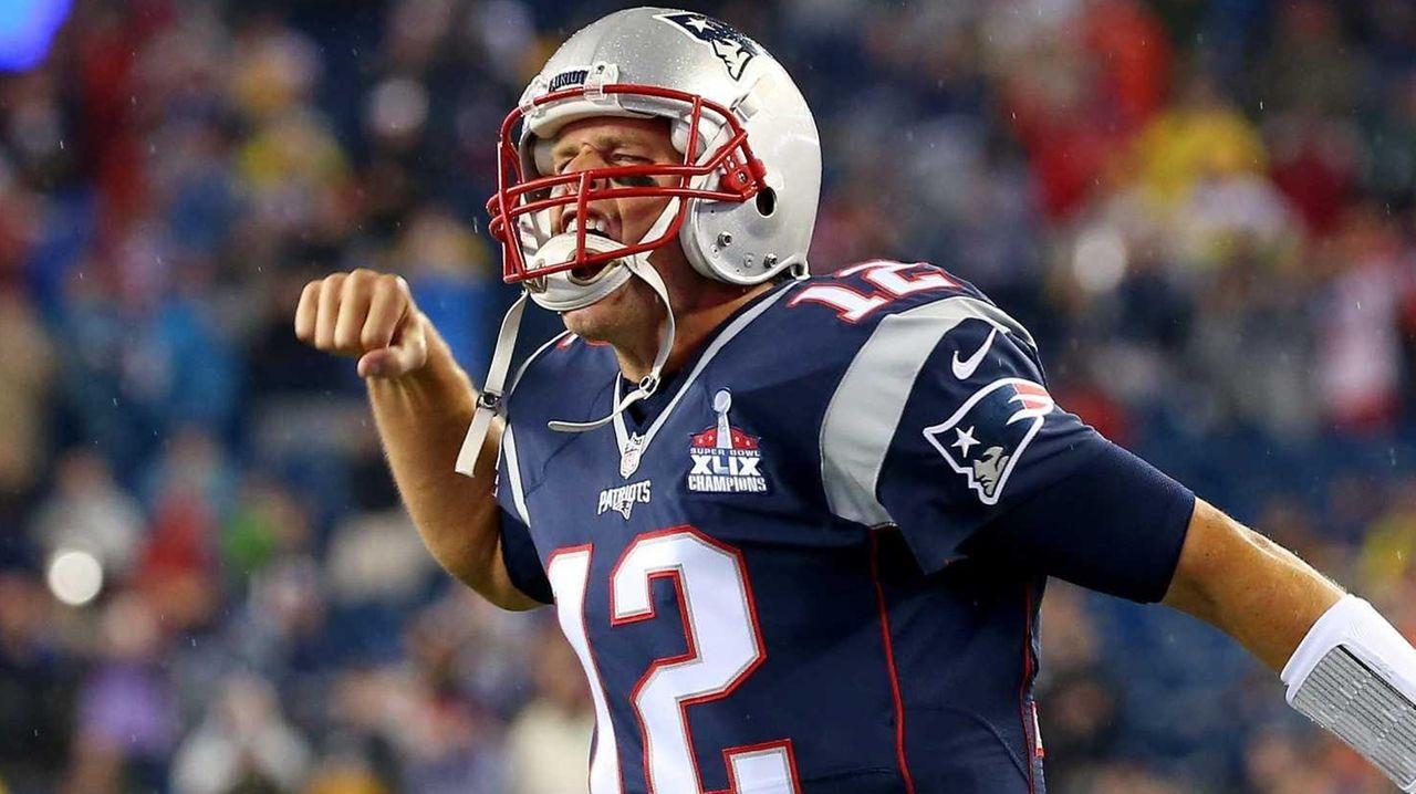 Tom Brady of the New England Patriots cheers
