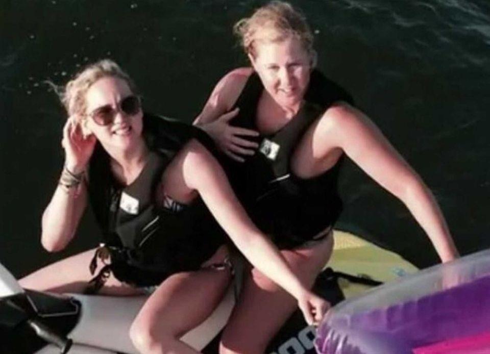 Jennifer Lawrence and Amy Schumer on a jetski