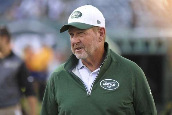 New York Jets offensive coordinator Chan Gailey watches