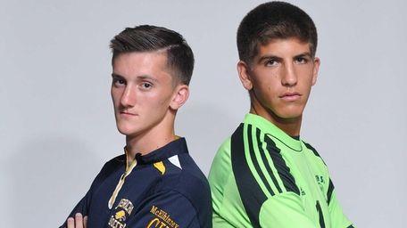 Goalkeepers Tyler McElinney of Jericho, left, and Josh