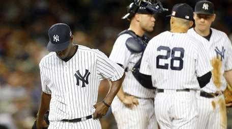 Luis Severino of the New York Yankees leaves