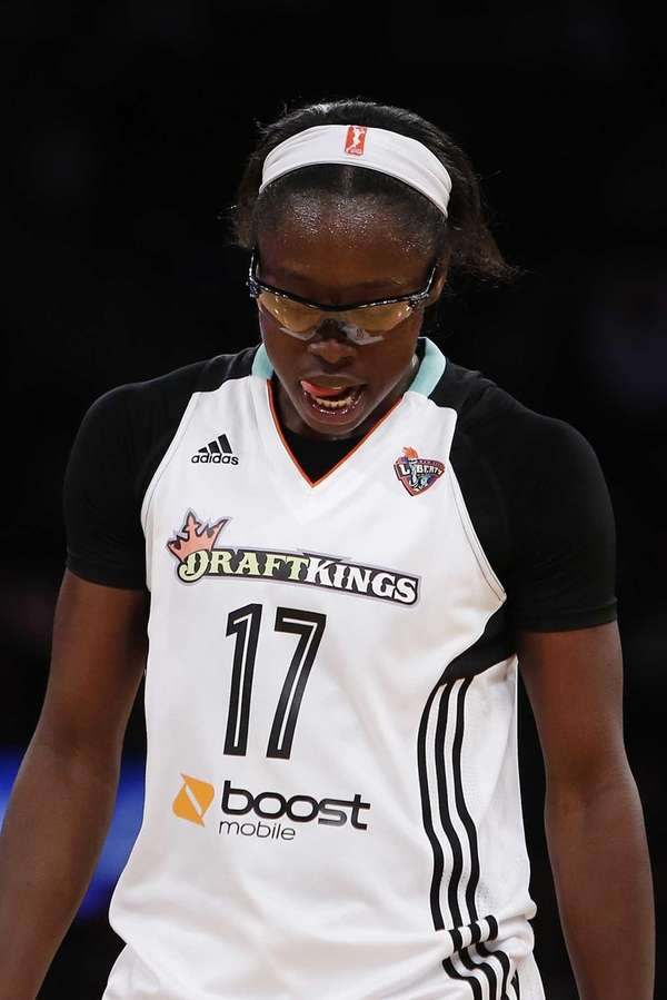 The New York Liberty's Essence Carson reacts after