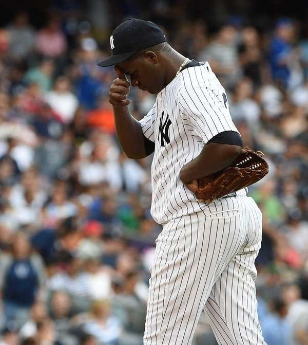 New York Yankees starting pitcher Michael Pineda reacts