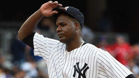 New York Yankees starting pitcher Michael Pineda reacts