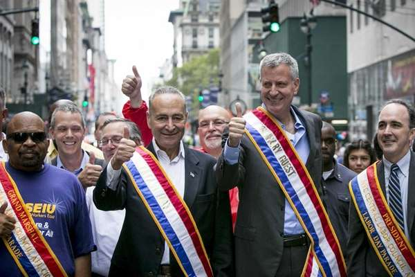 Sen. Chuck Schumer and New York Mayor Bill