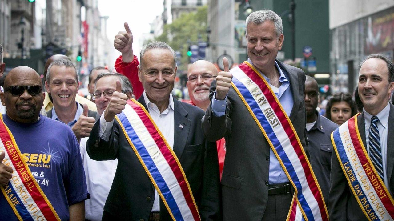 Sen. Chuck Schumer and New York Mayor Bill