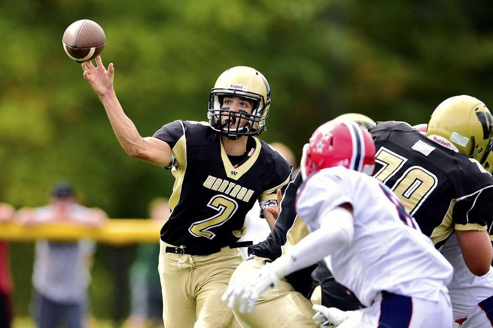Wantagh quarterback Robert Tucker (2) passes the ball