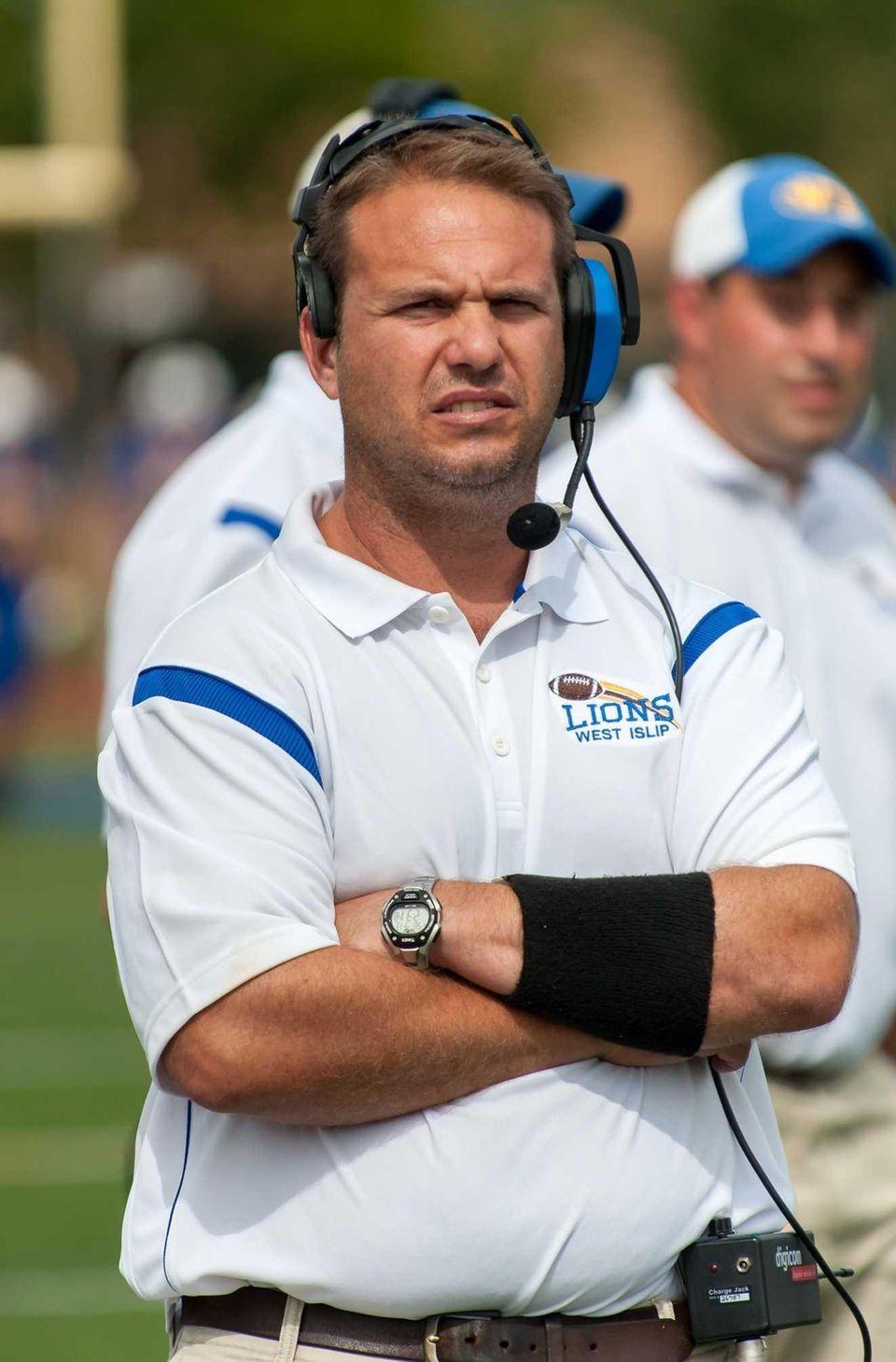 West Islip's head coach Steve Mileti looks on