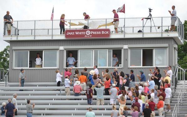 The press box of Garden City High School's