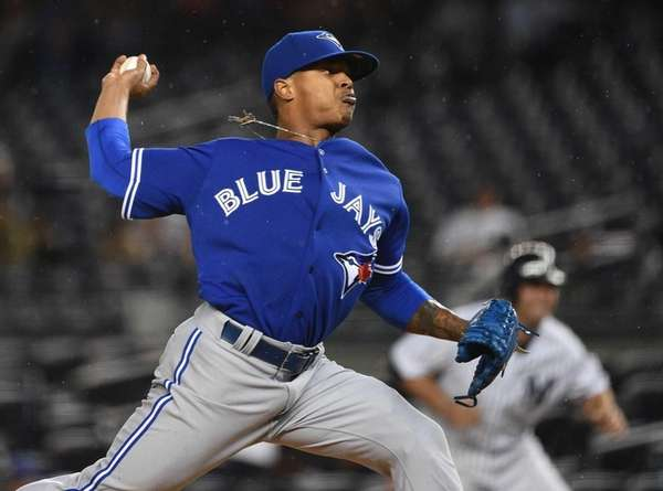 Toronto Blue Jays starting pitcher Marcus Stroman delivers