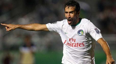 New York Cosmos forward Raul Gonzalez Blanco celebrates