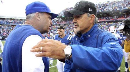 Buffalo Bills head coach Rex Ryan, left, and