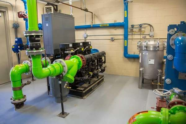 The mechanical room for the geothermal heating and