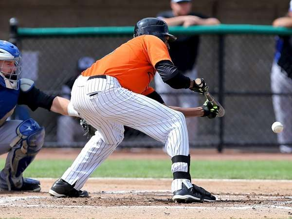 Long Island Ducks centerfielder Delta Cleary Jr. lays