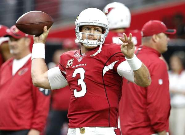 Arizona Cardinals quarterback Carson Palmer (3) warms up