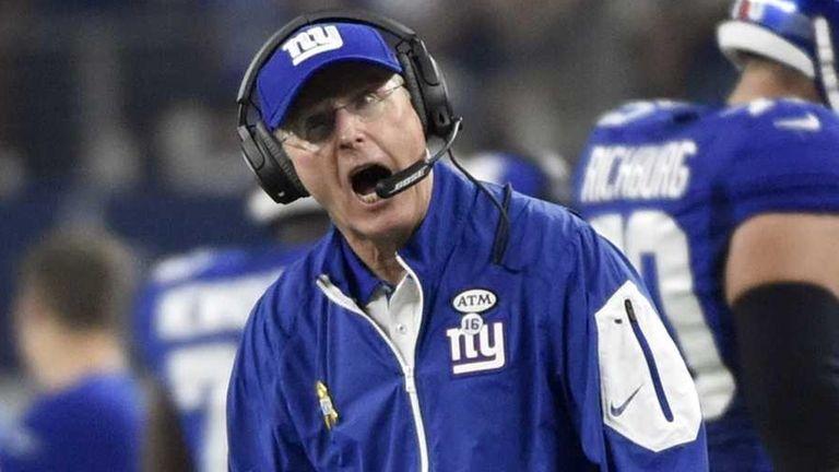 New York Giants head coach Tom Coughlin shouts
