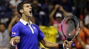 Novak Djokovic reacts after breaking Roger Federer's serve