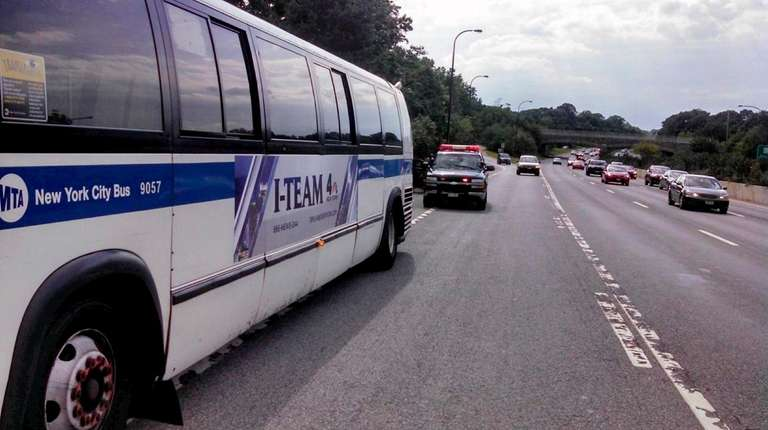An MTA bus that was pulled over on