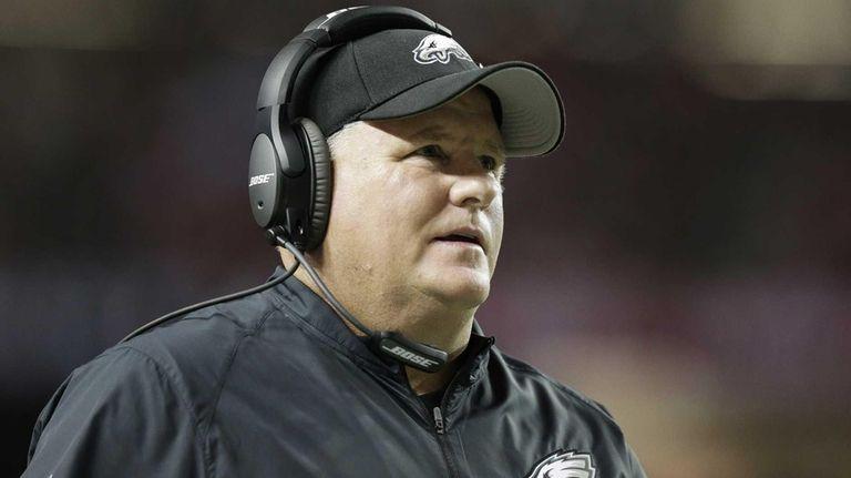 Philadelphia Eagles head coach Chip Kelly walks the