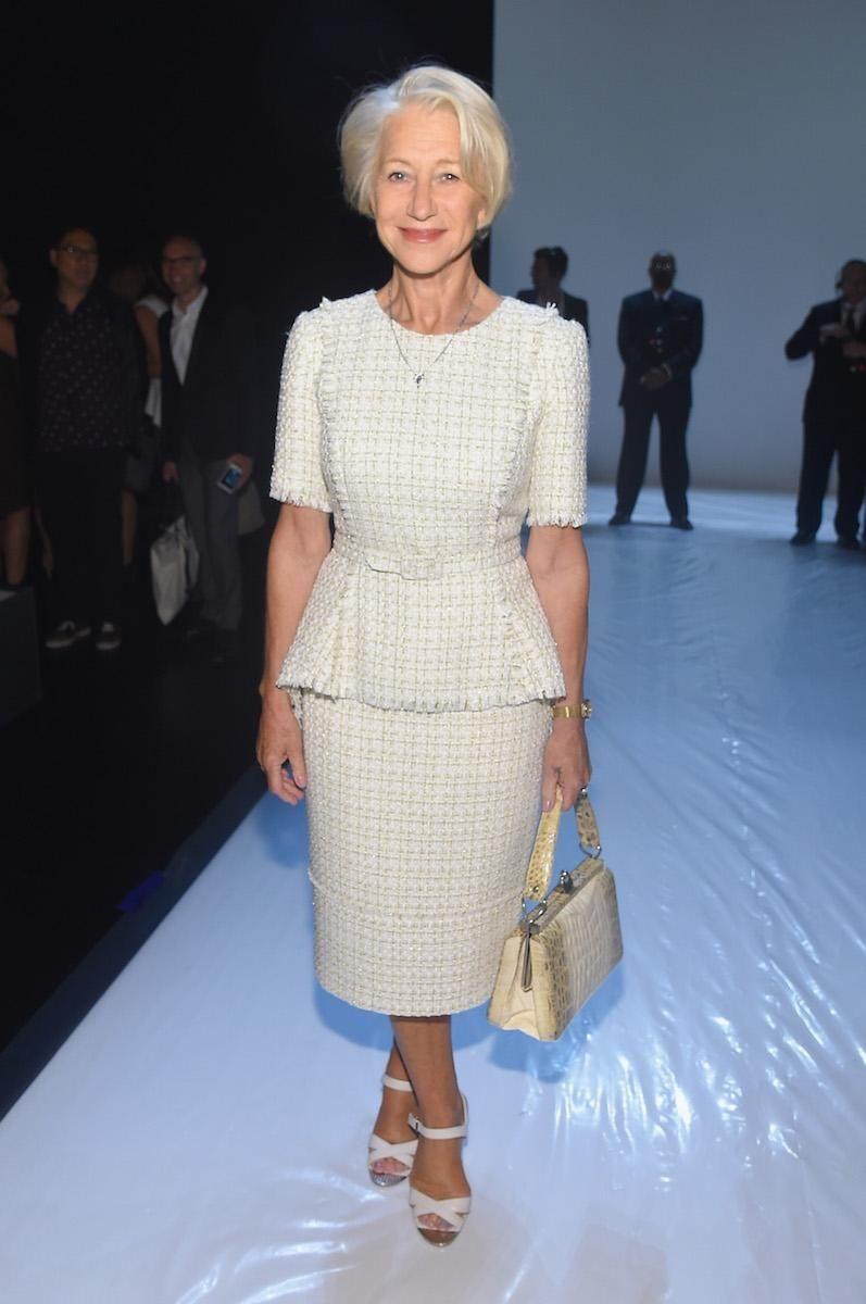 Actress Helen Mirren attends Badgley Mischka Spring 2016