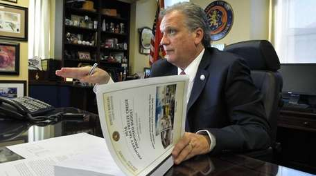 Nassau County Executive Edward Mangano speaks about the