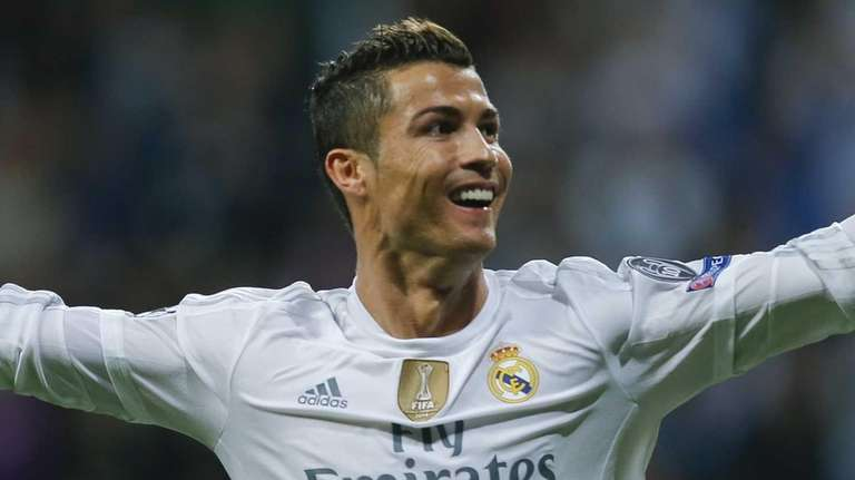 Real Madrid's Cristiano Ronaldo celebrates after scoring a