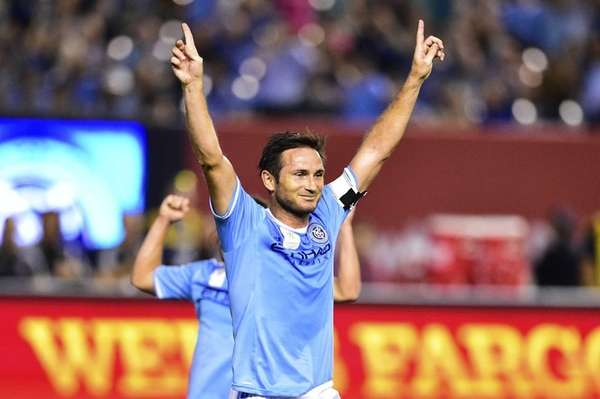 New York City FC midfielder Frank Lampard celebrates