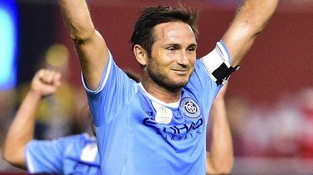 New York City FC midfielder Frank Lampard celebrates