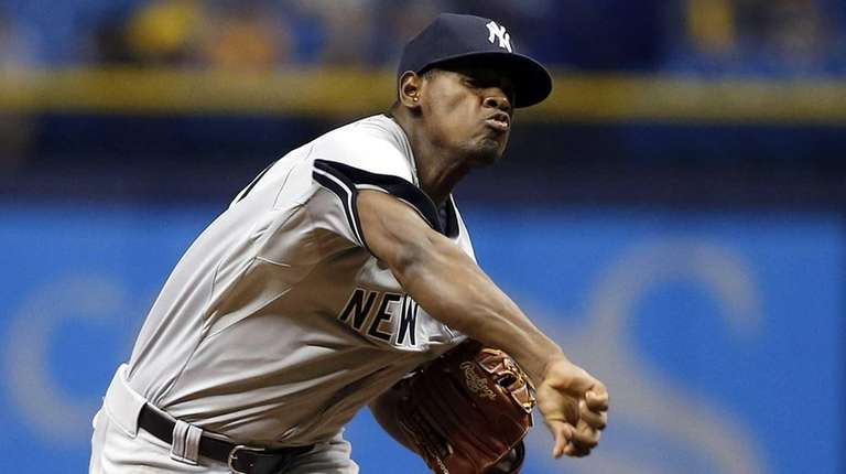 Luis Severino of the New York Yankees pitches