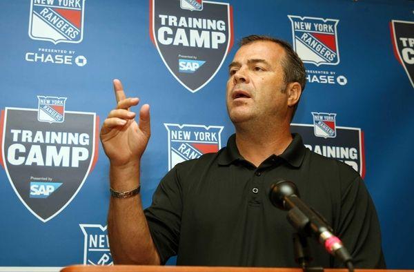 Rangers head coach Alain Vigneault holds a news