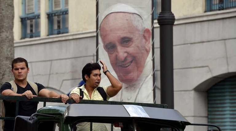 A welcome sign of Pope Francis marking his