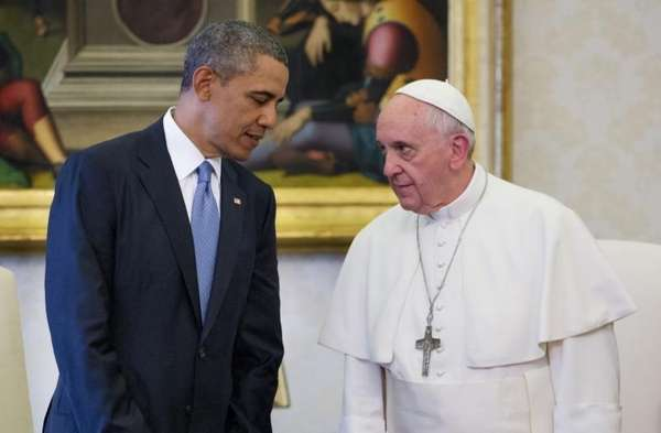 President Barack Obama meets with Pope Francis at