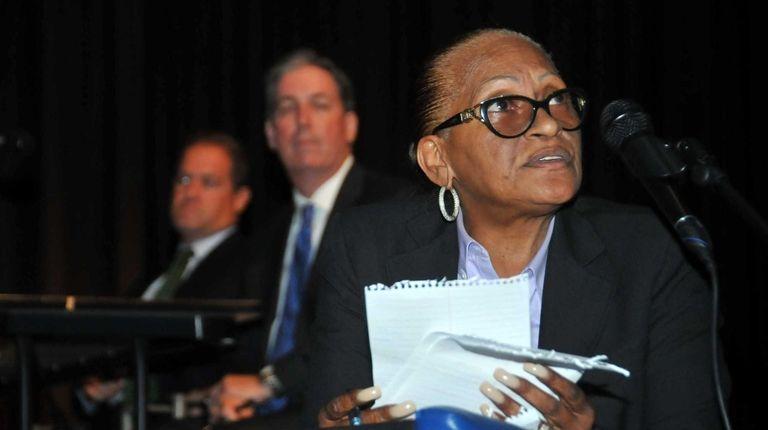 Hempstead school district Superintendent Susan Johnson addresses the