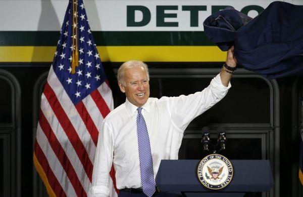 Vice President Joe Biden waves after speaking in