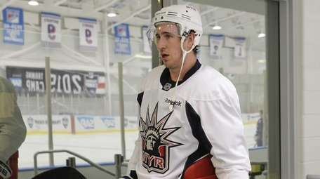 New York Rangers' Kevin Hayes leaves the ice