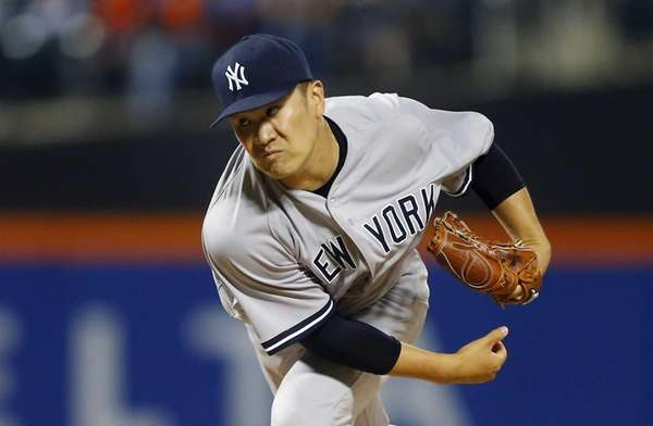 Masahiro Tanaka of the New York Yankees pitches