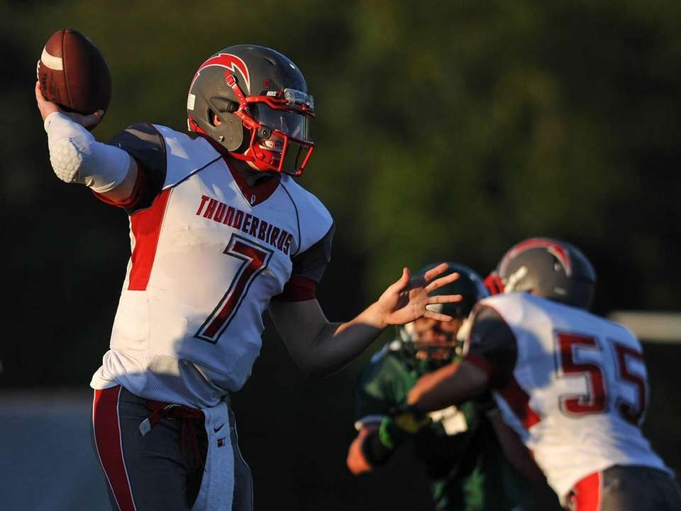 Connetquot quarterback Jack Cassidy throws a pass during