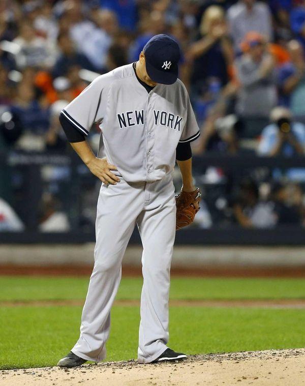 Masahiro Tanaka of the New York Yankees looks