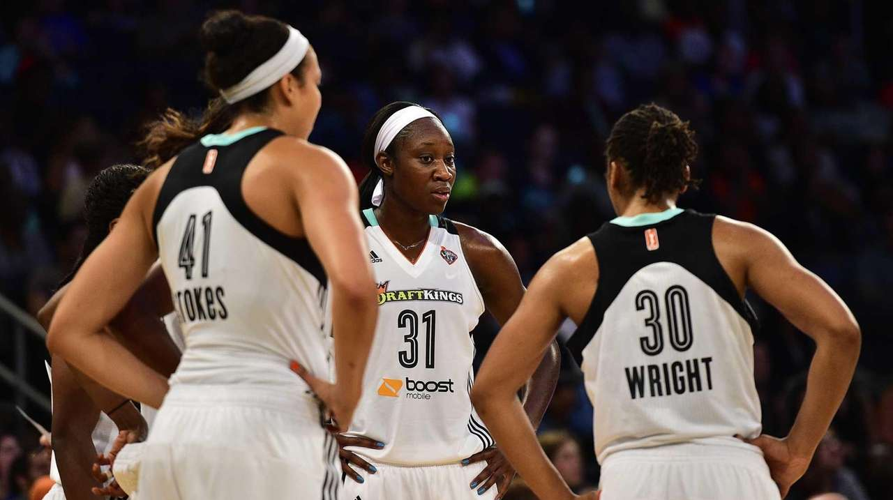 New York Liberty center Tina Charles talks to